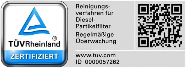 TÜV Rheinland - Reinigungsverfahren für Dieselpartikelfilter